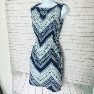 FEATHERS sleeveless blue zipper pocket dress